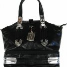 BLACK PU METAL HANDBAG
