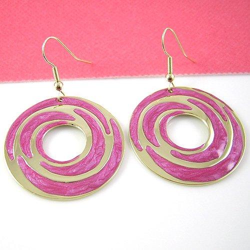 Fuchsia Gold circle earring