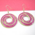 Fuchsia Gold circle earring
