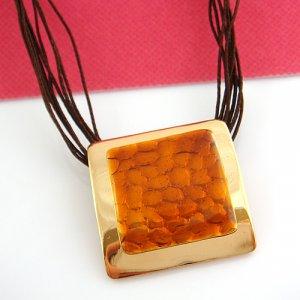 Burnt Orange Gold frame Pendant