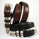 "Men's ""Lizard Print"" Leather Belt Set - Black & Brown - Sz 42"