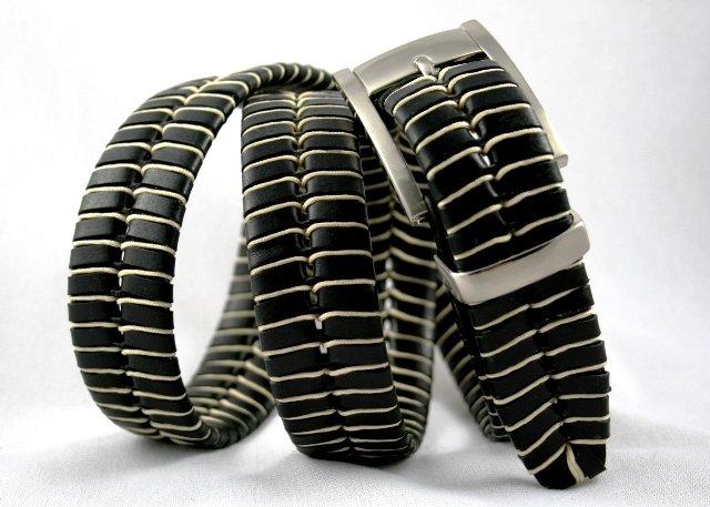 Men's Black Leather Belt w/Waxed Cord Lacing - Sz 38
