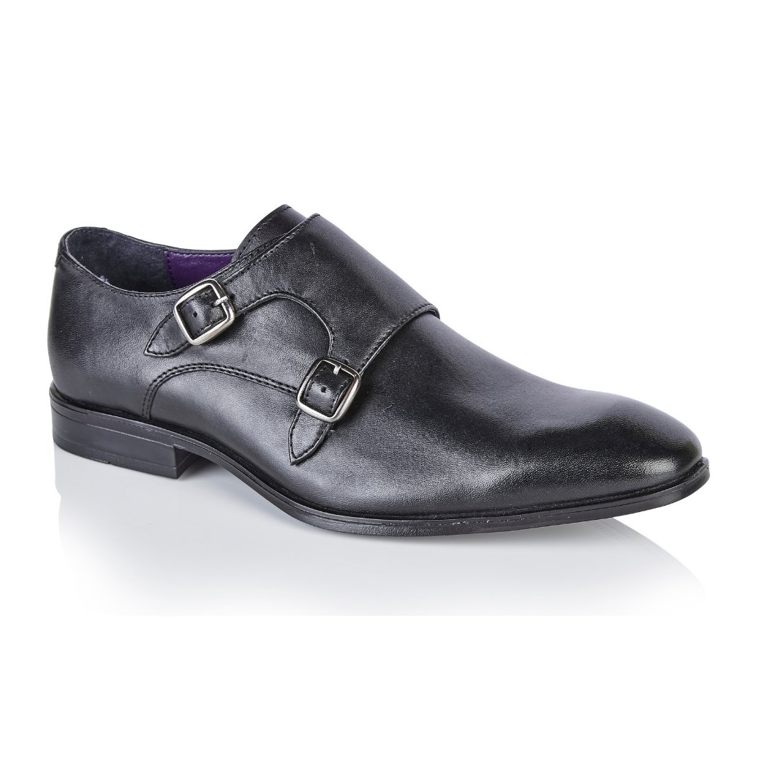 Silver Street London Men's Leather Formal Monk Shoe I Bourne Black (UK SIZES 7-12)