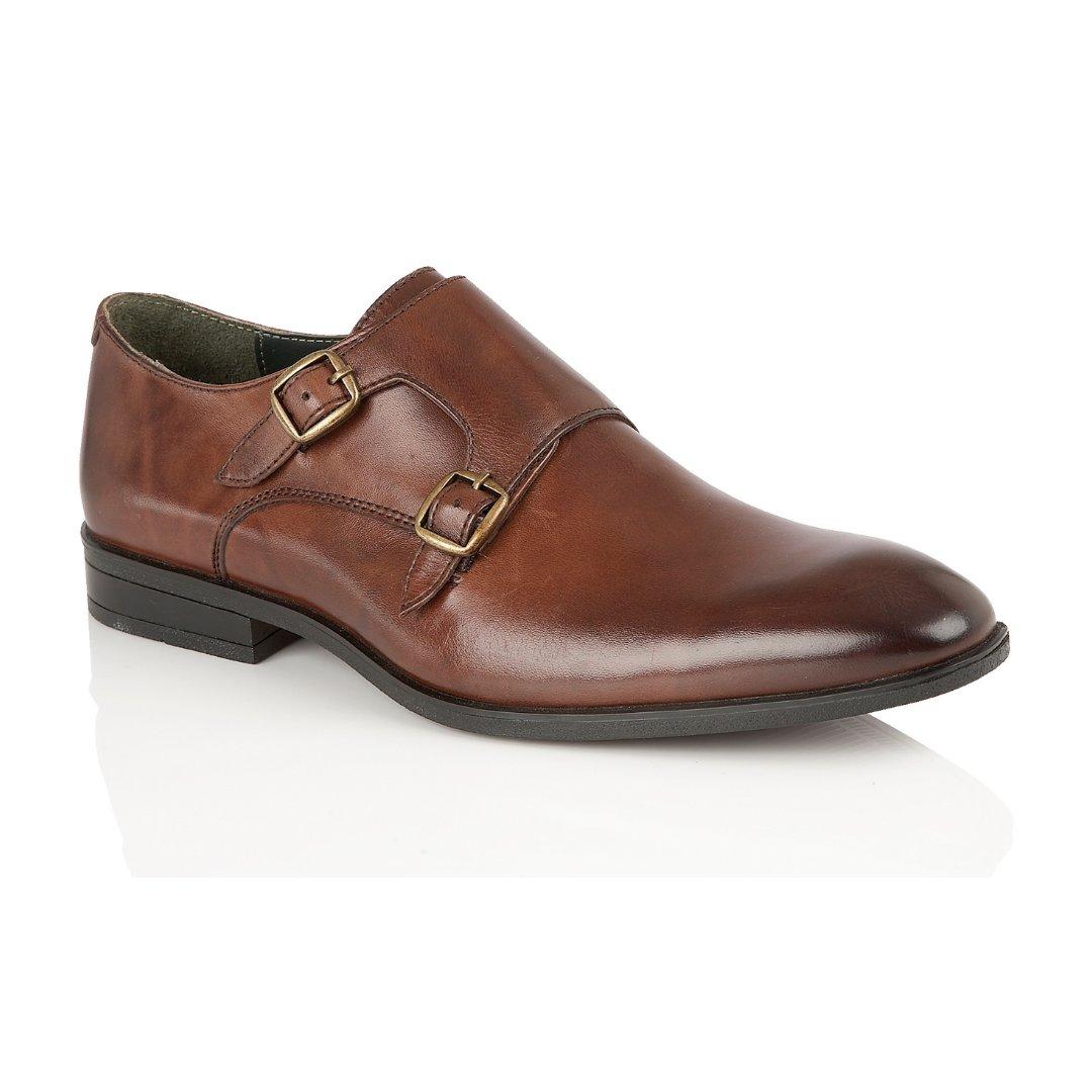 Silver Street London Men's Leather Formal Monk Shoe I Bourne Brown (UK SIZES 7-12)