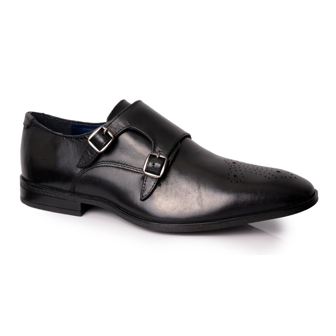 Silver Street London Men's Leather Formal Monk Shoe I Kramer Black (UK SIZES 7-12)