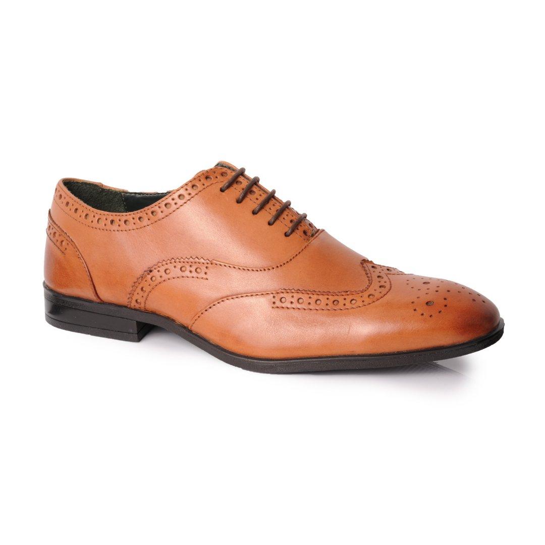 Silver Street London Men's Leather Formal Brogue Oxford I Oxford Tan (UK SIZES 7-12)