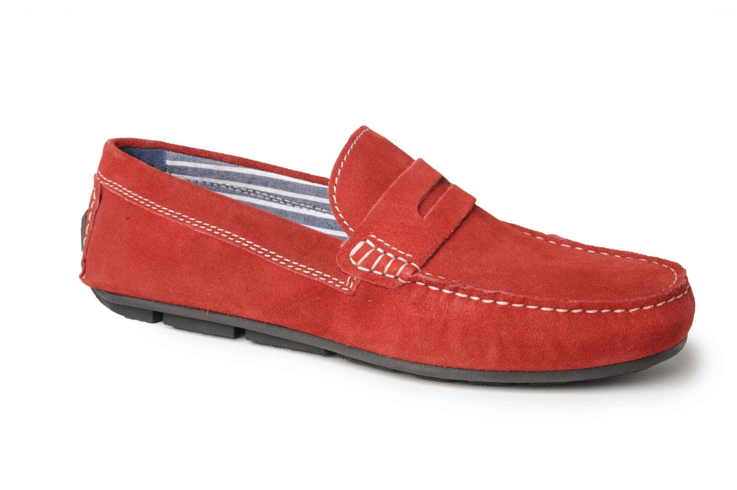 Catesby Men's Suede Leather Moccasin Driving Loafers I Red