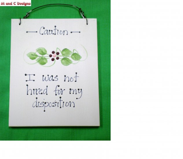 """Disposition"" mini sign"
