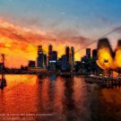 Singapore at Sunset Abstract Artwork