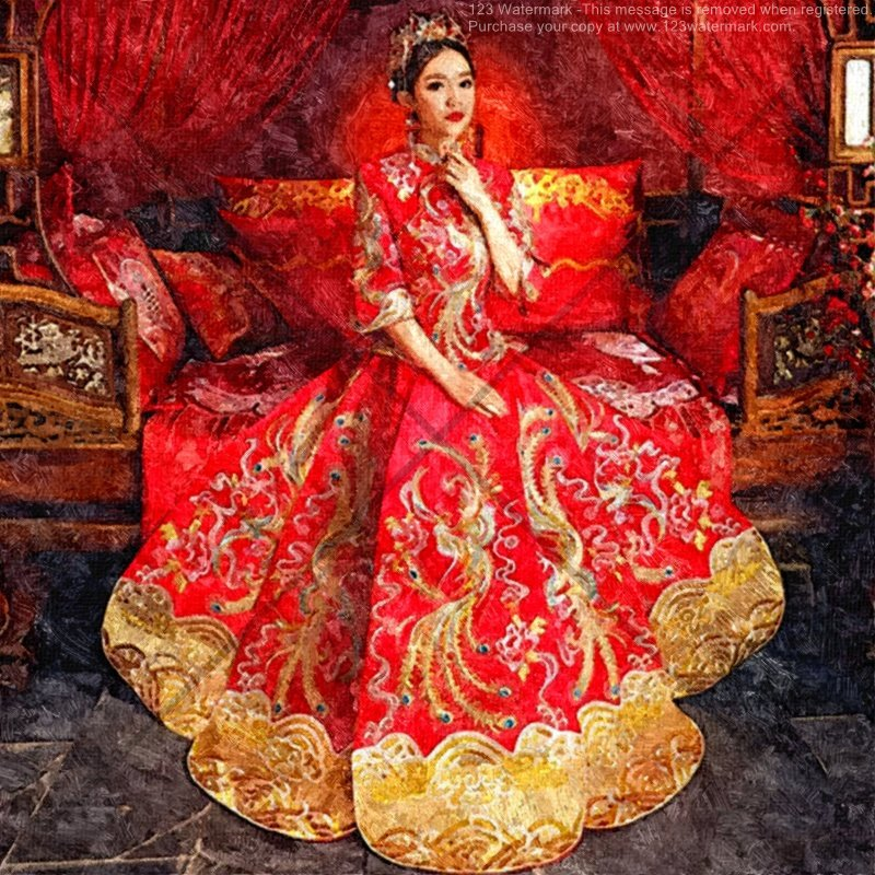 Woman in Traditional Chinese Wedding Gown Digital Download