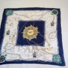 vintage silk scarf with navy theme
