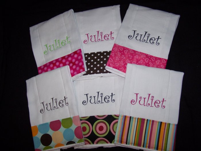 Set of 6 Monogrammed Personalized Burp Cloth Baby Gift