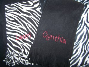 Personalized monogrammed fleece scarf