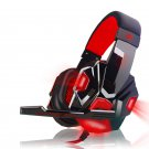 Over Ear Gaming Headset with Mic and LED Light for Laptop Cellphone PS4, Red