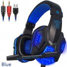 Over Ear Gaming Headset with Mic and LED Light for Laptop Cellphone PS4, Blue