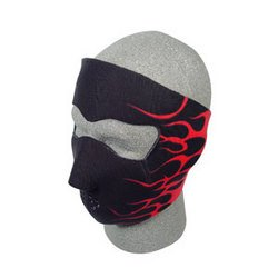 Cold Weather Headwear Neoprene Face Mask - Flames 2, Red