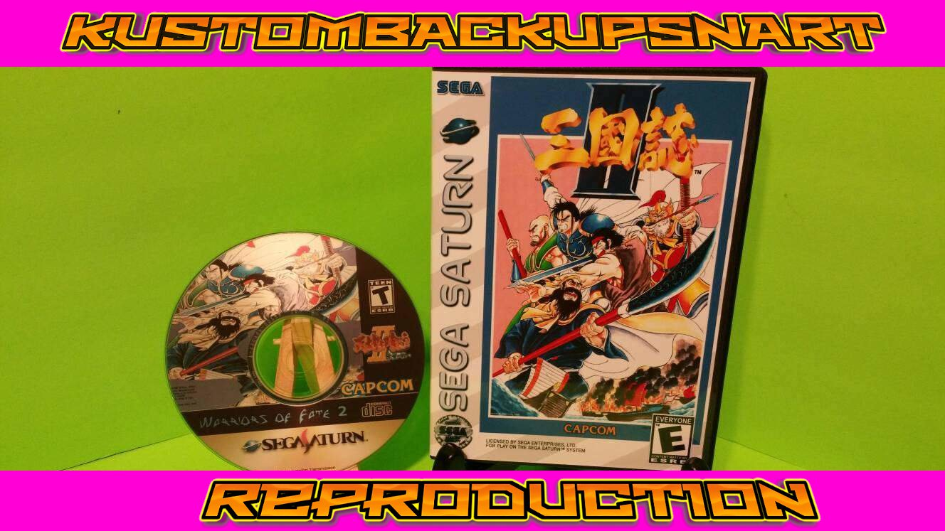 Warriors of Fate 2 Custom Reproduction Case and Art Disc for Sega Saturn