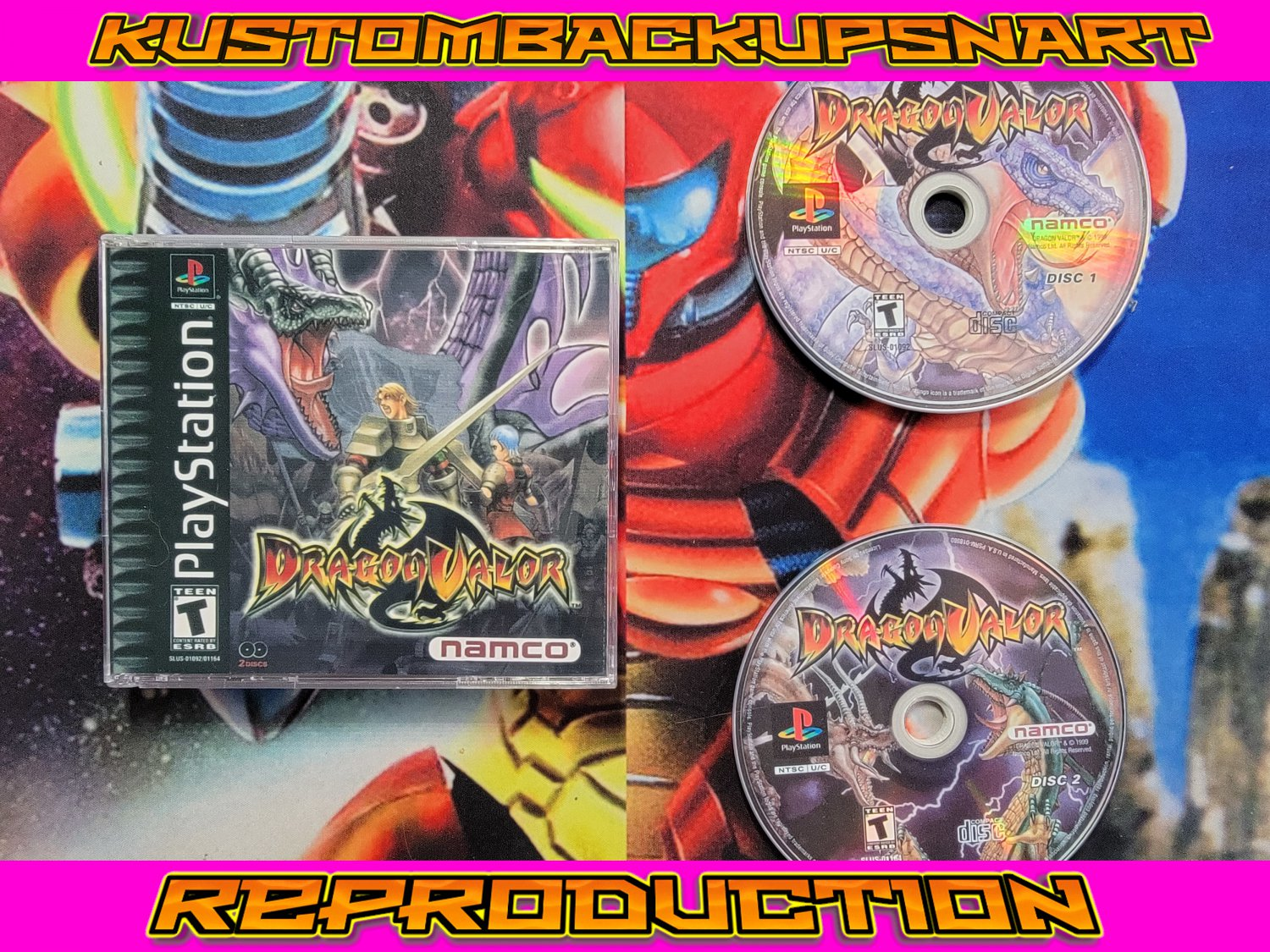Dragon Valor Custom Reproduction Case and Art Disc for PS1