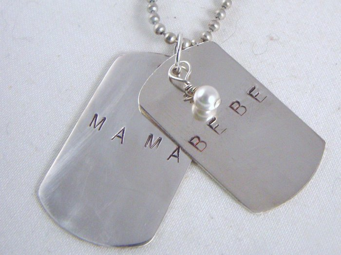Mama Bebe Dog Tag Necklace Sterling Silver N136