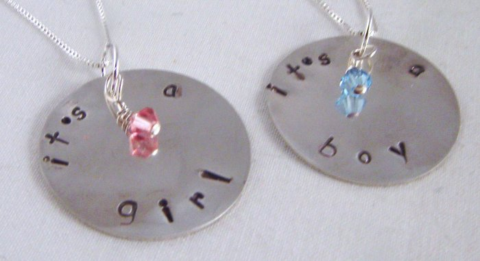 IT'S A BOY IT'S A GIRL Custom Hand Stamped Personalized Sterling Silver Circle Pendant Necklace N132