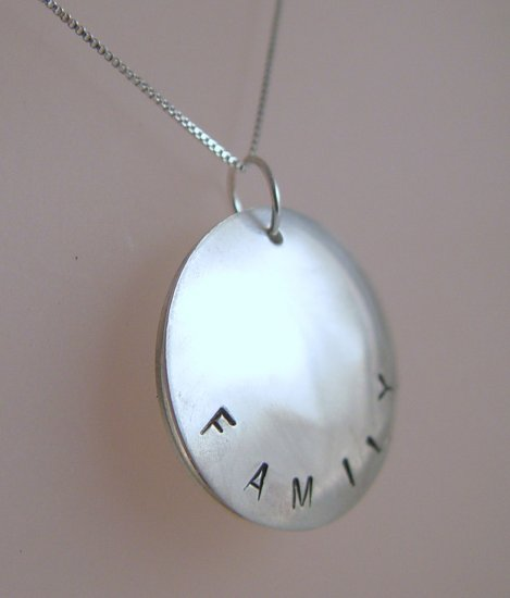 LOCKET Hand Stamped Sterling Silver Necklace for Families N126
