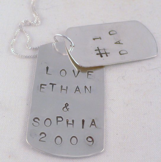 Dad Dog Tag Necklace Sterling Silver Custom Personalized Father N121