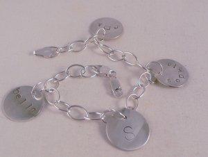 Custom Personalized Mom Sterling Silver Charm Bracelet B013