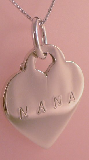 HEART Custom Hand Stamped Personalized Sterling Silver Pendant Necklace N079