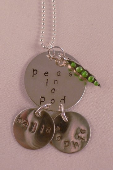 Peas In a Pod Custom Hand Stamped Personalized Sterling Silver Necklace N113
