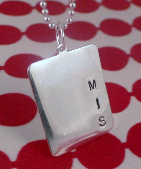 Men Custom Handstamped Personalized Sterling Silver Rectangle Pendant Necklace N112