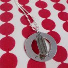 SKATEBOARD Custom Hand Stamped Personalized Sterling Silver Circle Pendant Necklace N102