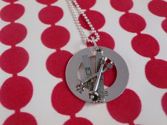 Skiier Skiing Custom Hand Stamped Personalized Sterling Silver Necklace N101