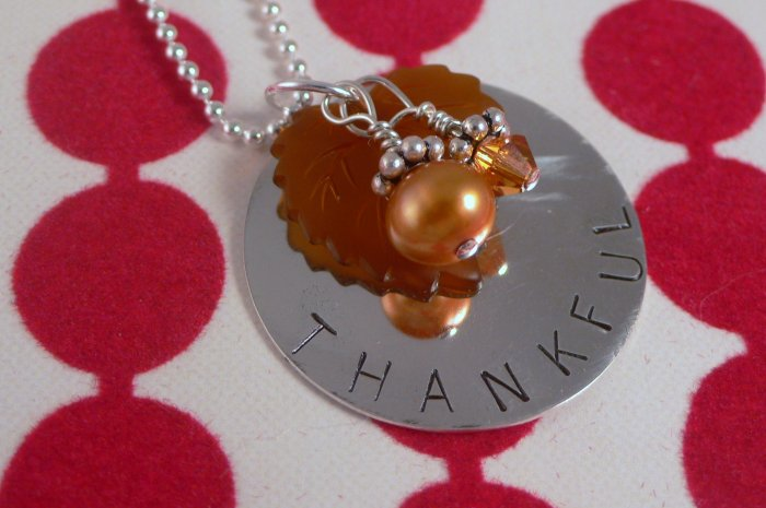 Thankful Thanksgiving Necklace Hand Stamped Sterling Silver N099