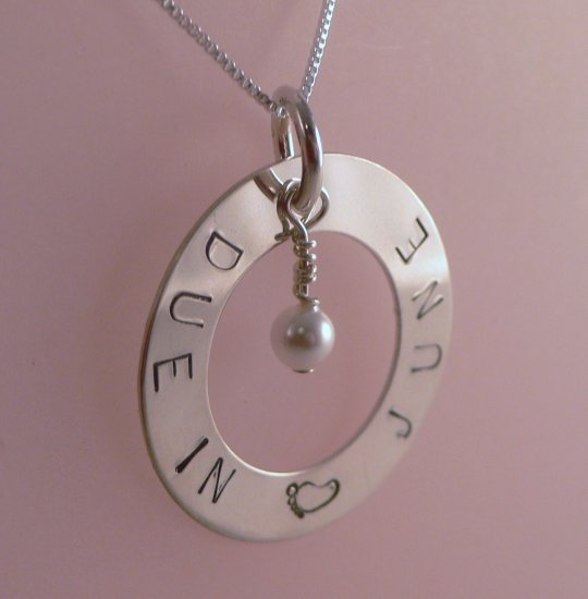 Custom Hand Stamped Personalized Maternity Pregnant Due In Necklace N139