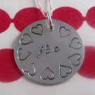 Necklace LOVE Hearts Custom Hand Stamped Personalized Sterling Silver Circle N072