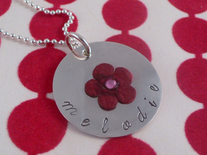 Flower Custom Hand Stamped Personalized Sterling Silver Circle Pendant Necklace N068