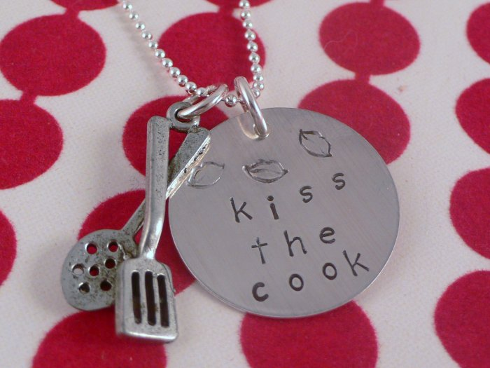 Kiss the Cook Necklace Custom Hand Stamped Personalized Sterling Silver N066