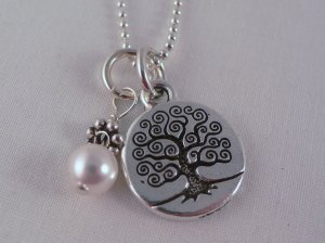 Tree of Life Pearl Charm Sterling Silver Necklace N060
