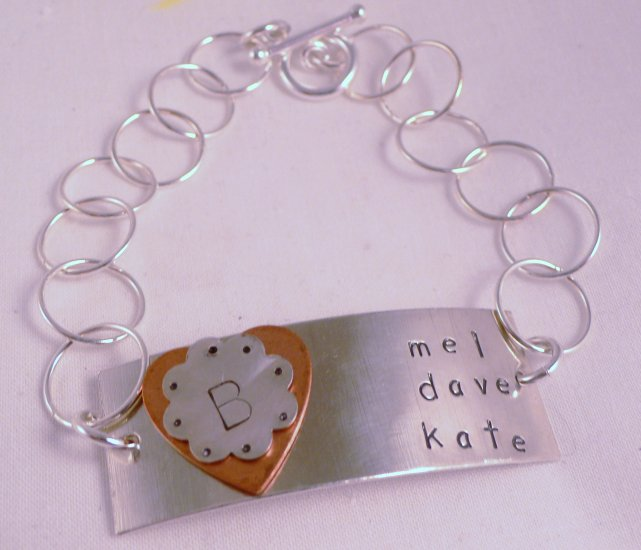 Personalized Custom Bracelet Sterling Silver Hand Stamped B007