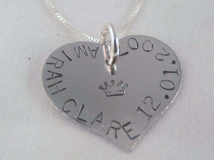 Heart Necklace Sterling Silver Custom Personalized Hand Stamped N052