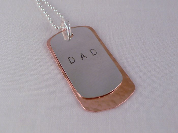 Dad Father's Day Dog Tag Necklace Sterling Silver Copper Custom Personalized Hand Stamped N048