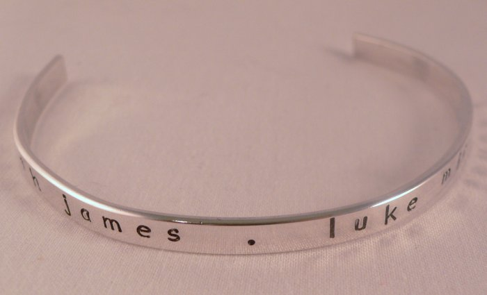 Sterling Silver Cuff Bracelet Personalized Custom Hand Stamped B005