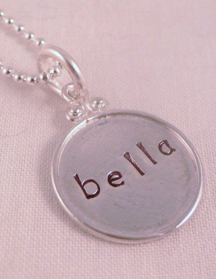 Circle Necklace Sterling Silver Custom Personalized Hand Stamped N045
