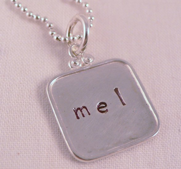 Square Necklace Sterling Silver Custom Personalized Hand Stamped N044