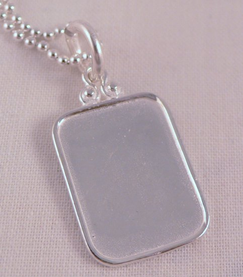 Rectangle Necklace Sterling Silver Custom Personalized Hand Stamped N043