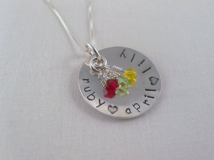 Custom Birthstone Necklace Sterling Silver Personalized Hand Stamped N040