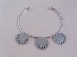 Personalized Custom Ball Cuff Bracelet Silver Hand Stamped B003
