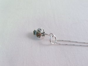 Something Blue Bride Wedding Sterling Silver Bead Cap Swarovski Crystal Birthstone N033