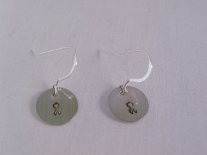 Awareness Ribbon Earrings Sterling Silver Dangle Circle Hand Stamped E002