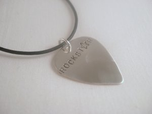 Guitar Pick Pic Necklace Silver Custom Personalized N026